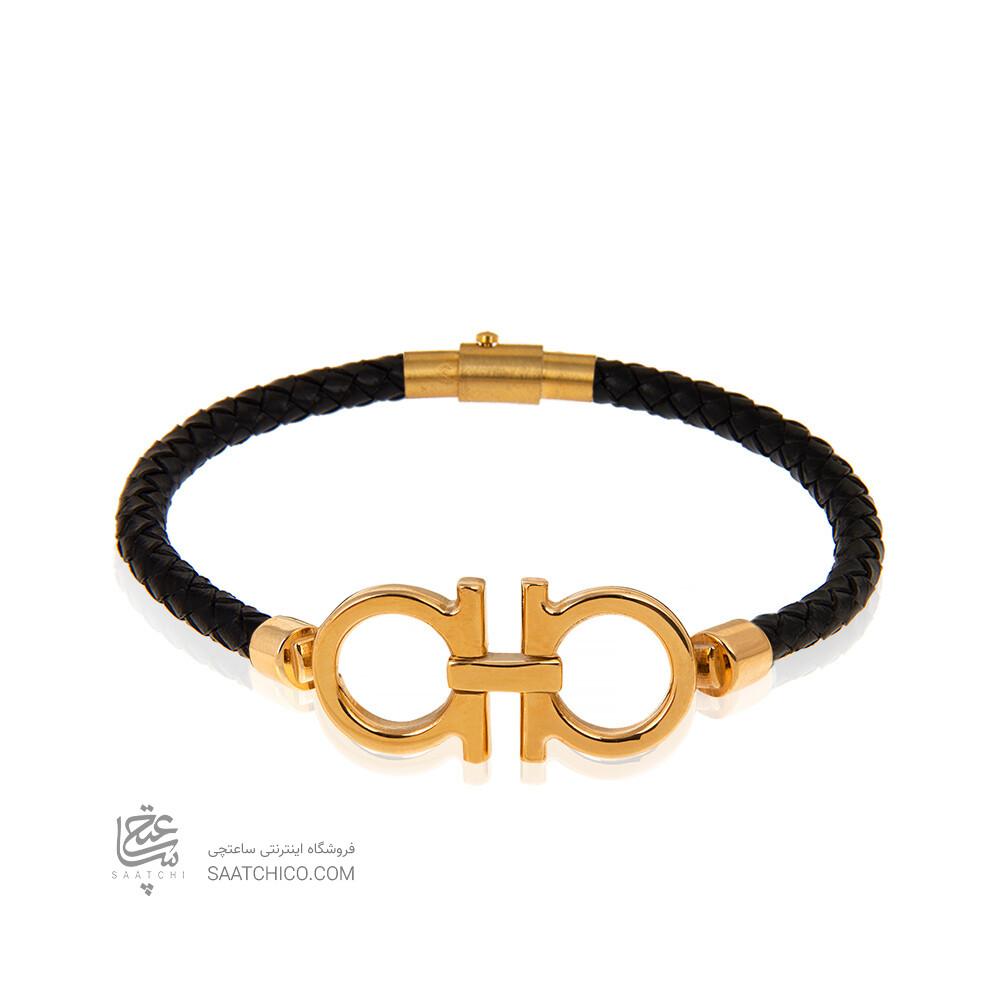 دستبند چرم با پلاک طلا طرح امگا کد XB979