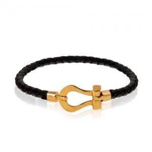 دستبند چرم مردانه با پلاک طلا طرح فرد کد MB145