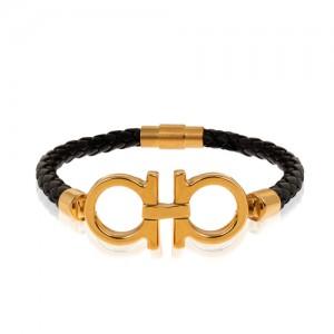 دستبند چرم مردانه با پلاک طلا طرح امگا کد MB146