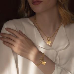 دستبند زنجیر طلا کارتیه با آویز قلب چکشی کد CB433
