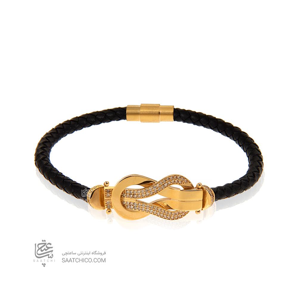دستبند چرم زنانه با پلاک طلا طرح فرد نگین دار کد XB814