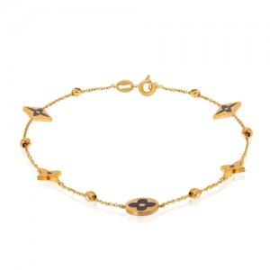 دستبند طلا طرح لویی ویتون مینا کاری کد CB434