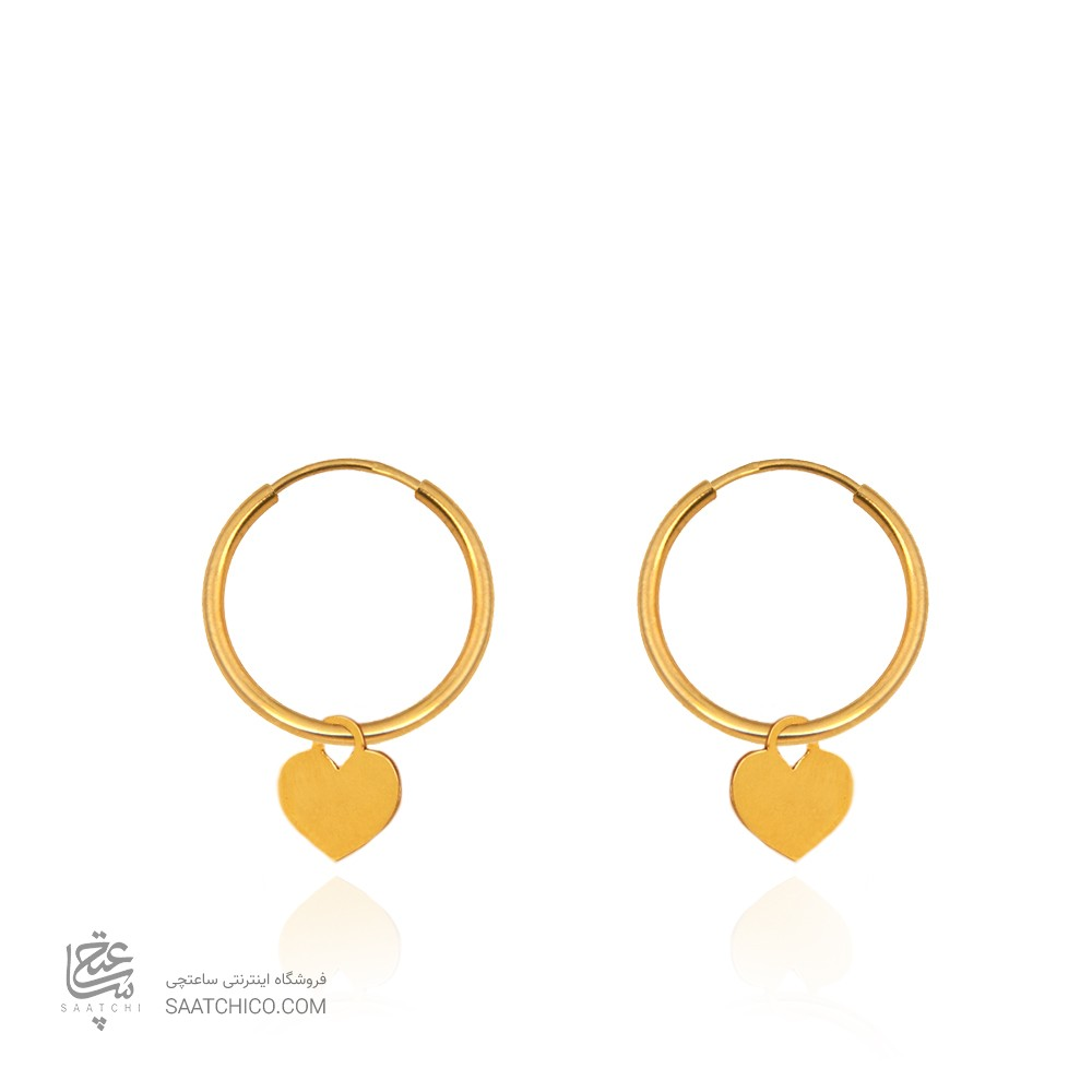 گوشواره حلقه ای طلا با آویز قلب کد LE675