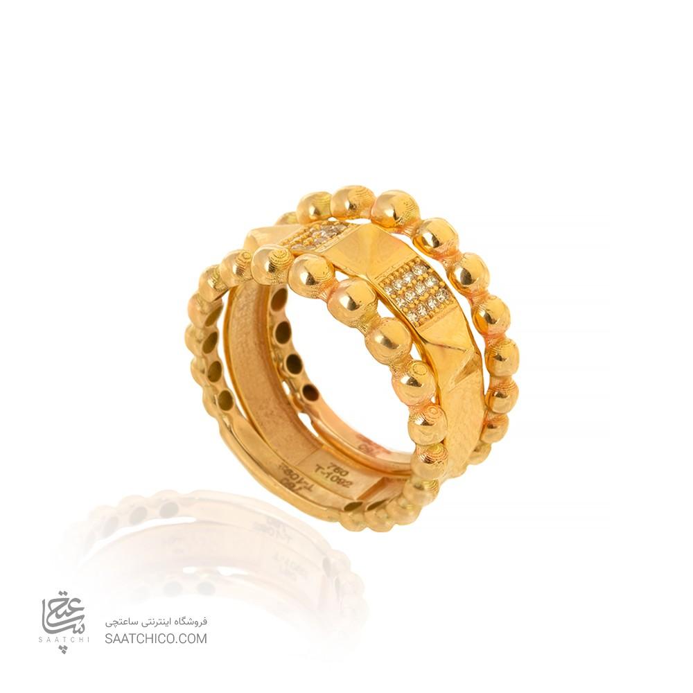 ست سه تایی انگشتر طلا طرح گوارسه هرم کد CR505