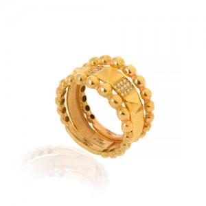 ست سه تایی انگشتر طلا طرح هرم گوارسه کد CR505