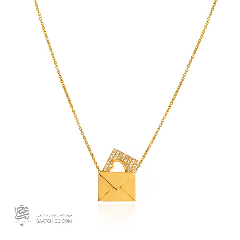 گردنبند طلا طرح پاکت نامه کد CN457