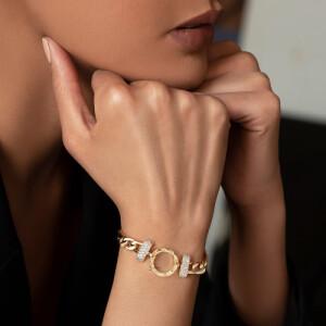دستبند طلا با پلاک طرح LOVE کارتیه کد CB435