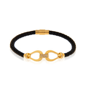 دستبند چرم زنانه با پلاک طلا کد XB812