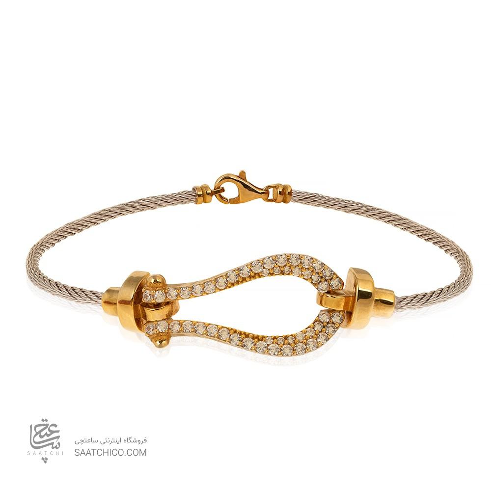 دستبند طلا زنانه طرح فرد نگین دار کد CB436