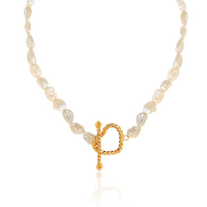 گردنبند مروارید باروک با پلاک طلا طرح قلب کد XN414