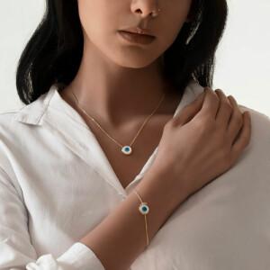 دستبند طلا با پلاک چشم نظر کد CB438