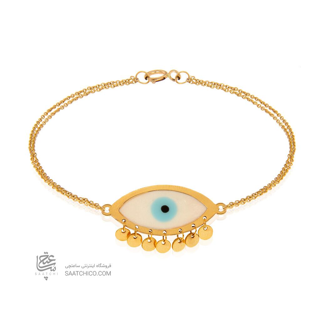دستبند طلا با پلاک چشم نظر مینا کاری کد CB441