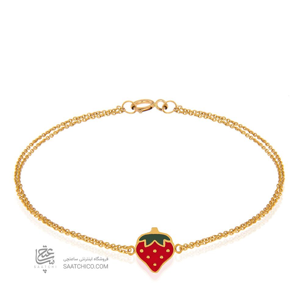 دستبند کودک طلا طرح توت فرنگی کد KB379