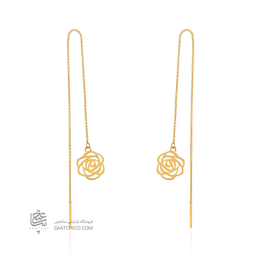 گوشواره بخیه ای طلا طرح گل شنل کد LE679
