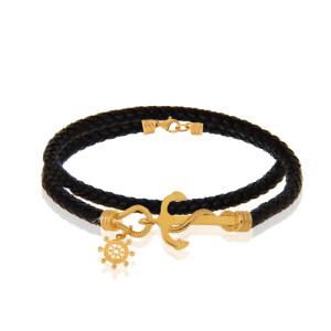 دستبند چرم با پلاک طلا طرح لنگر کد XB601