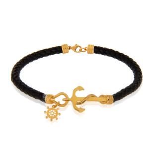 دستبند چرم با پلاک طلا طرح لنگر کد MB147