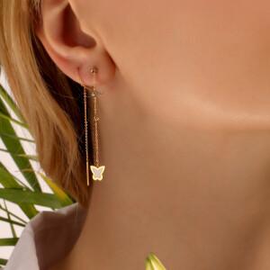 گوشواره بخیه ای طلا طرح پروانه کد LE686