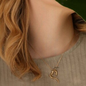 گردنبند طلا طرح قلب کد CN642