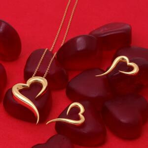 نیم ست طلا طرح قلب کد CS342