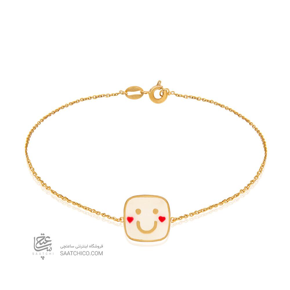 دستبند طلا کودک طرح لبخند کد KB380