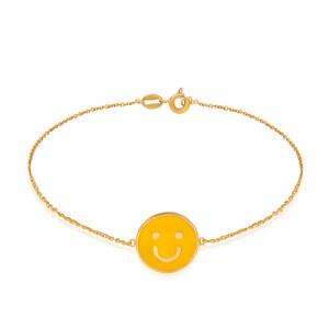 دستبند طلا کودک طرح لبخند کد KB381