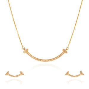 نیم ست طلا طرح لبخند تیفانی کد CS343