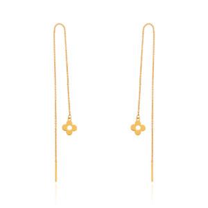 گوشواره بخیه ای طلا طرح گل لویی ویتون کد LE685