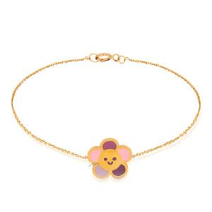 دستبند طلا کودک طرح گل کد KB382