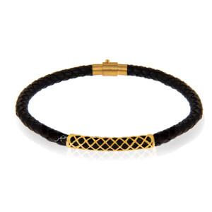 دستبند چرم و طلا کد MB148