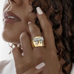 انگشتر طلا با پلاک پاپیون کد CR522