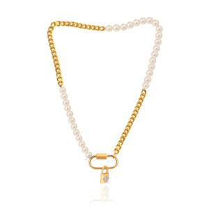 گردنبند کارتیه طلا با مروارید و قفل مارلا آرون کد XN415