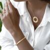 دستبند النگویی طلا طرح اطلس تیفانی (باریک) کد CB458