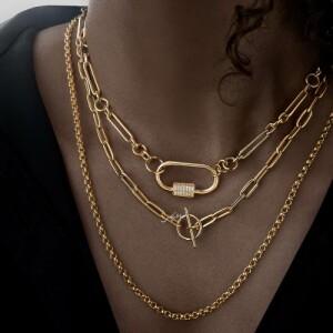 گردنبند زنجیری طلا با قفل تی کد CN465