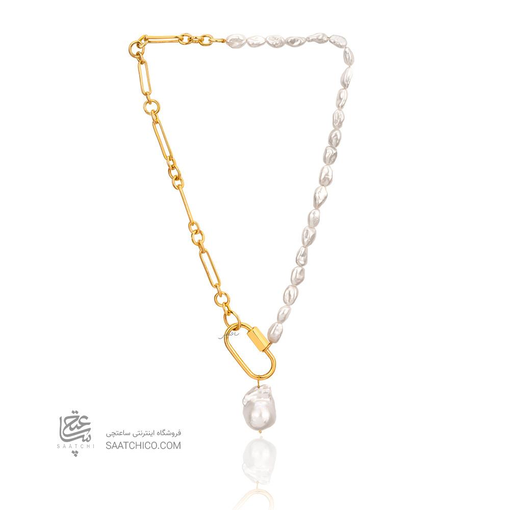 گردنبند دست ساز طلا با قفل طرح مارلا آرون و مروارید باروک کد XN416