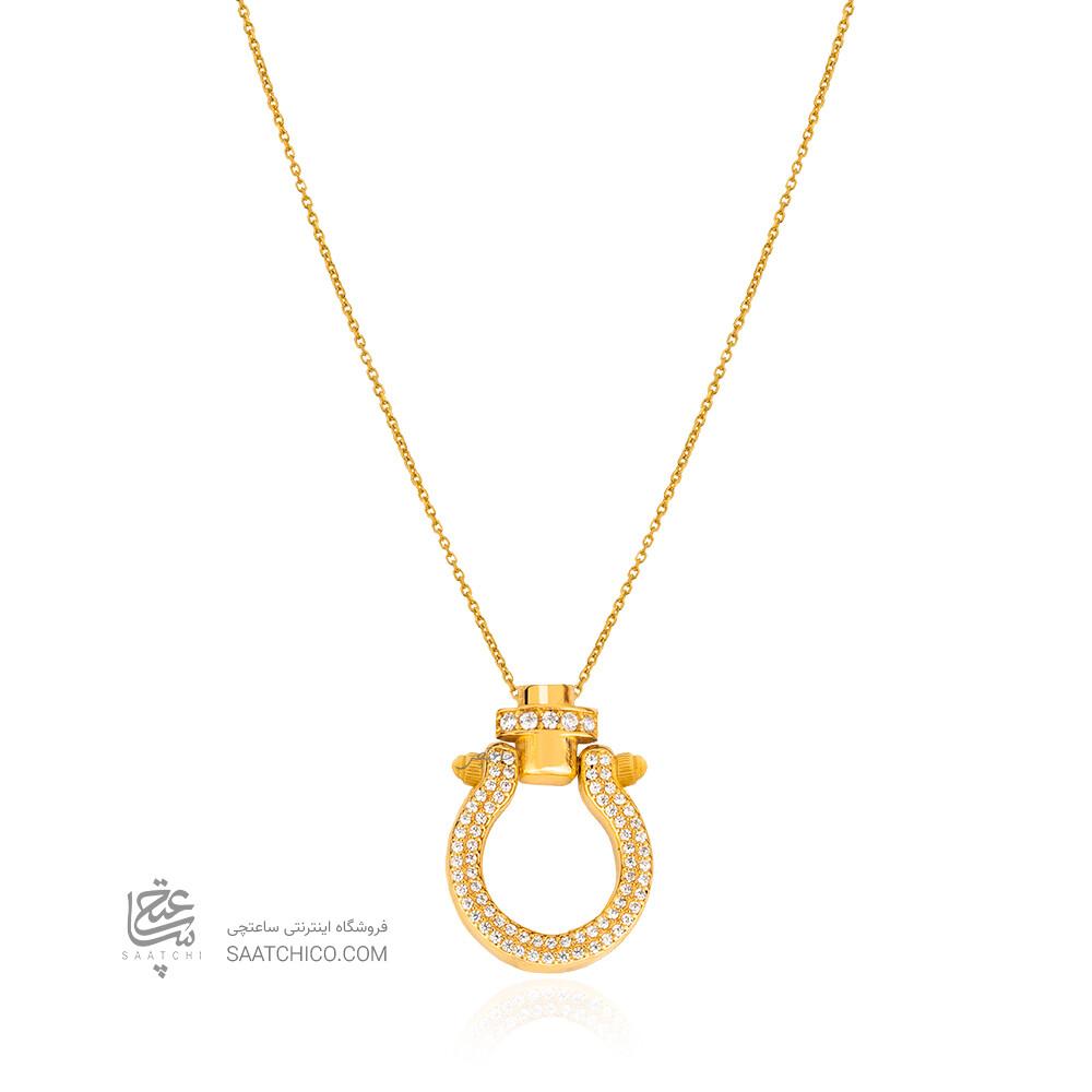 گردنبند طلا با پلاک طرح امگا نگین دار کد CN467