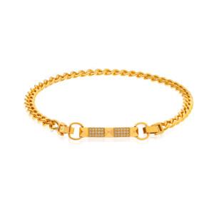 دستبند طلا کارتیه با پلاک طرح هرم کد CB462