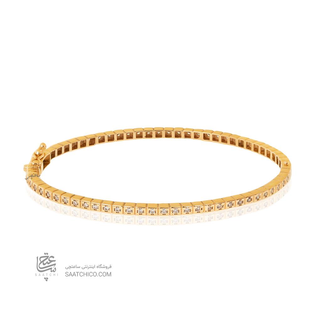 دستبند النگویی طلا طرح شوپارد مدل تمام نگین کد CB465