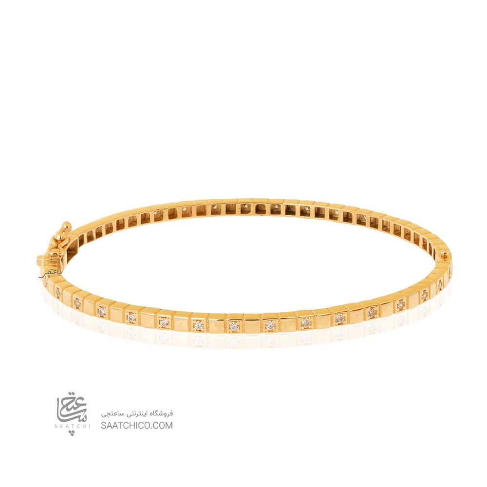 دستبند النگویی طلا طرح شوپارد مدل نگین دار کد CB466