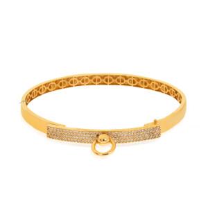 دستبند النگویی طلا طرح هرمس مدل نگین دار کد CB467