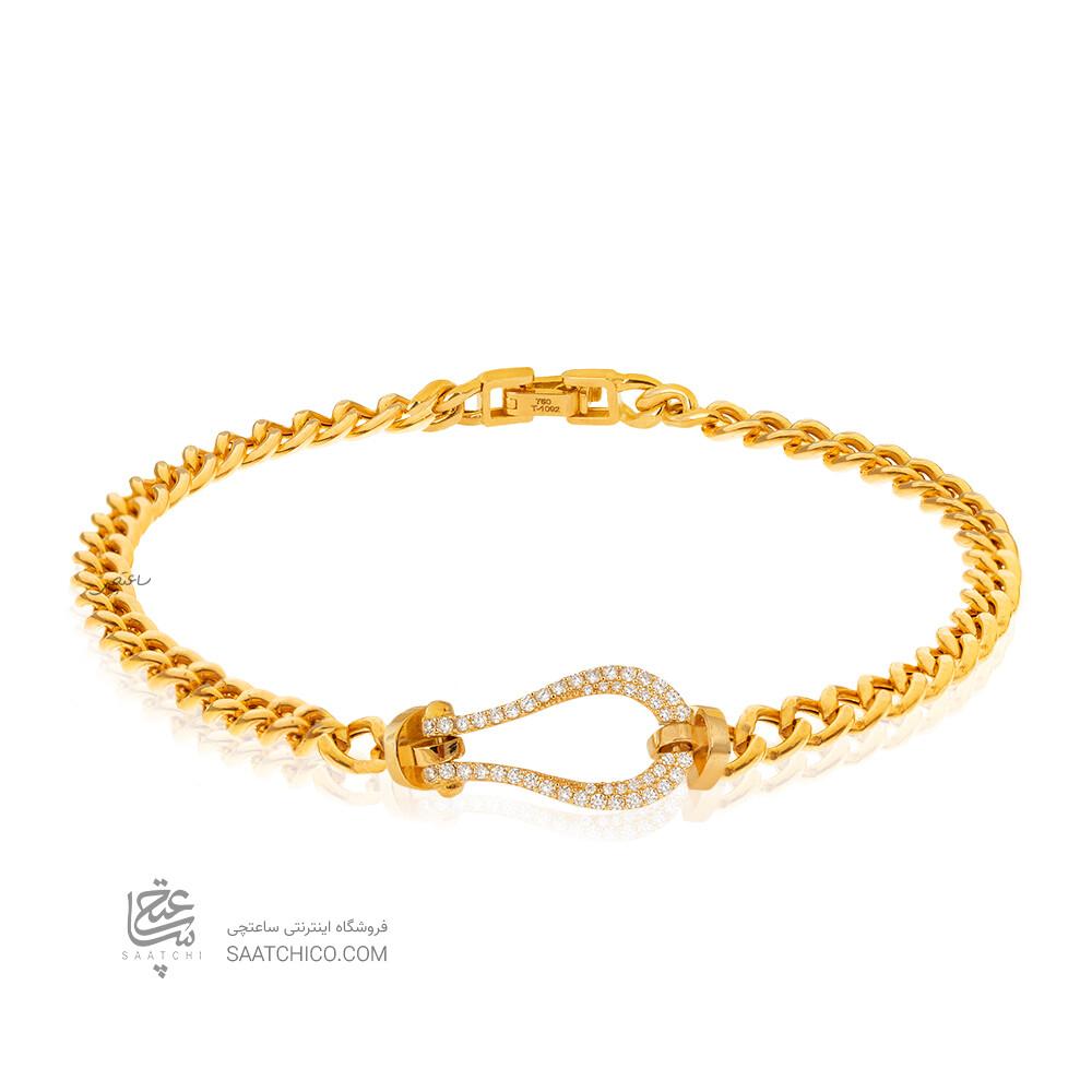 دستبند طلا طرح فرد با زنجیر کارتیه کد CB468