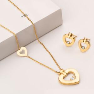 نیم ست طلا طرح قلب فرد تک نگین کد CS344