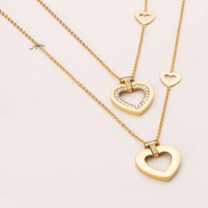 گردنبند طلا طرح قلب فرد دور نگین کد CN472