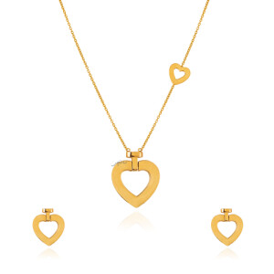 نیم ست طلا طرح قلب فرد ساده کد CS345