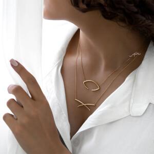 گردنبند طلا طرح هندسی ضربدر کد CN476