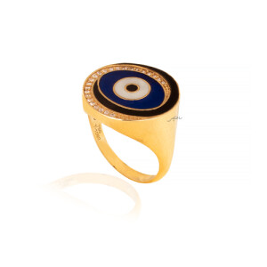 انگشتر طلا طرح چشم نظر کد CR529