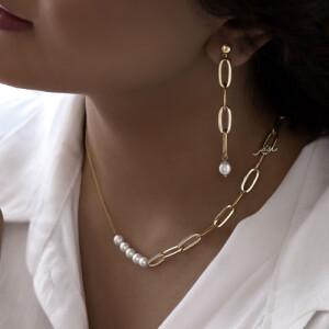 گردنبند طلا طرح زنجیر کارتیه  با مروارید کد XN417