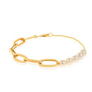 دستبند طلا طرح زنجیر کارتیه با مروارید کد XB602