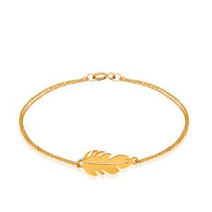دستبند طلا طرح پر کد LB122