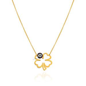 گردنبند طلا طرح شبدر با چشم نظر کد LN885