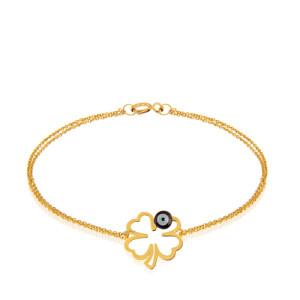 دستبند طلا طرح شبدر با چشم نظر کد LB123